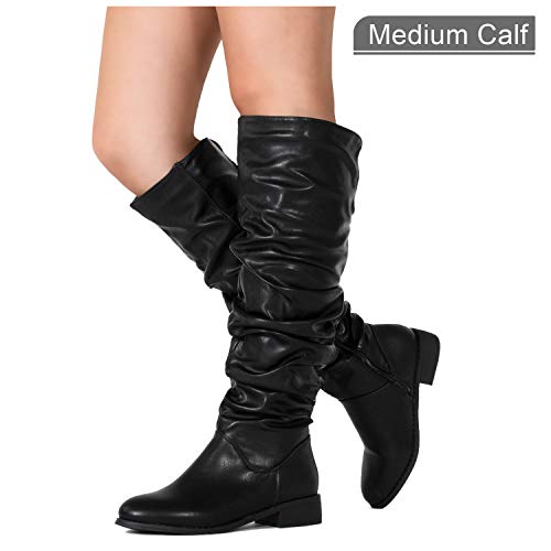 - RF ROOM OF FASHION Women's Slouchy Pull On Low Block Heel Knee High Boots (Medium Calf) Black PU (7)