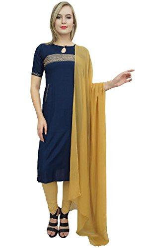 Concepteur Salwar Indien Féminin Atassi Costume Bollywood Partywear Ethnique Bleu Marine Et Beige