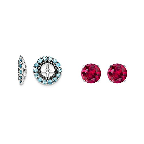 Sterling Silver Blue Simulated Topaz, Black Simulated Sapphire Earring Jacket + 2mm Red CZ Studs by Mireval