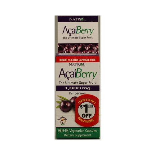 Natrol AcaiBerry - 1000 mg - 75 Vegetarian capsules - Natrol