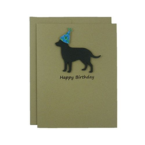 Black Labrador Retriever Birthday Card – Handmade Black Dog Birthday Greeting Card on Kraft Card stock with Envelope – Party Hat – Pet Birthday
