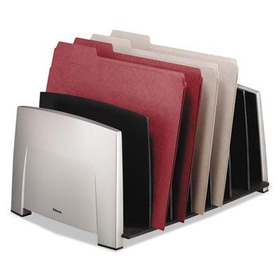 File Sorter, 7 Comp, Plastic, 14 1/2 x 10 5/16 x 7 1/2, Black/Silver