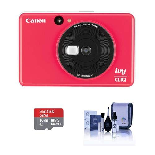 Canon Ivy Cliq Instant Camera Printer – Lady Bug Red – Bundle with 16GB Micro SDHC Card, Cleaning Kit