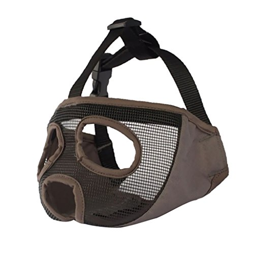 MagiDeal Short Nose Dog Mesh Muzzle for Pugs Bulldogs and Flat Faced Dogs - Gray L ()