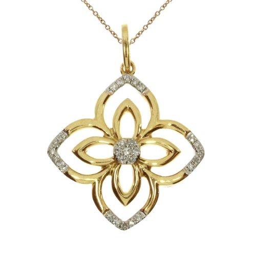 0.05 Carat (ctw) 14k Yellow Gold Round Diamond Women's Flower Pendant with 18