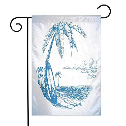 (Zmstroy Folding Garden Flag Surf Contemporary Sketch Illustration Hawaiian Beach with Surfboard Palms and Ocean Water Perfect Decor,12.5 x 18 Inch,Blue White)