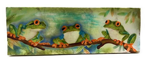 - Kubla Crafts 3 Tree Frogs Sitting on Branch Capiz Shell Keepsake Box, 3 Inches X 9 Inches