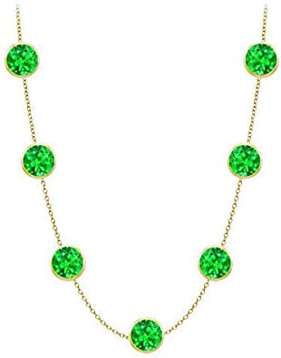 Amazon Com Frosted Emerald Necklace On 14k Yellow Gold Bezel Set