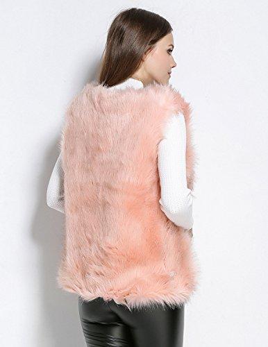 Semia Femmes Manteaux Sans Manche Faux Fourrure de Renard Luxe Chaud Manteau Slim Veste Hiver Automne Gilet Outwear Blouson Rose