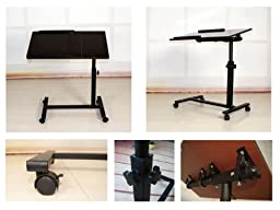 FANTASYCART Portable Laptop Notebook Rolling Table Cart Stand Tiltable Tabletop Desk Overbed