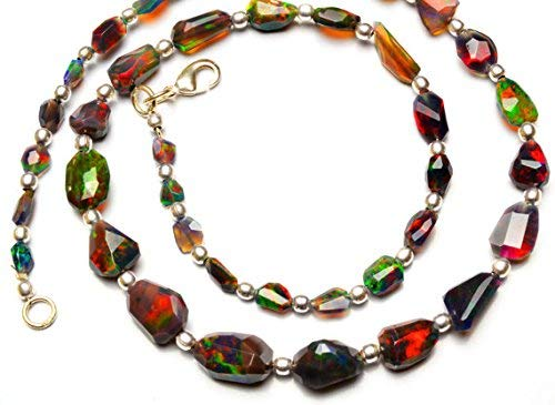 1 Strand Natural Ethiopian Black Opal Facet Nugget & Smooth 4x8-5x14 mm, Beads Necklace 18