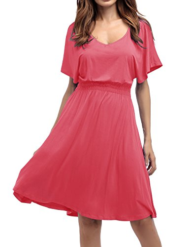 Sarin Mathews Womens Sexy V Neck Cap Sleeve Summer Casual Flared Midi Dress