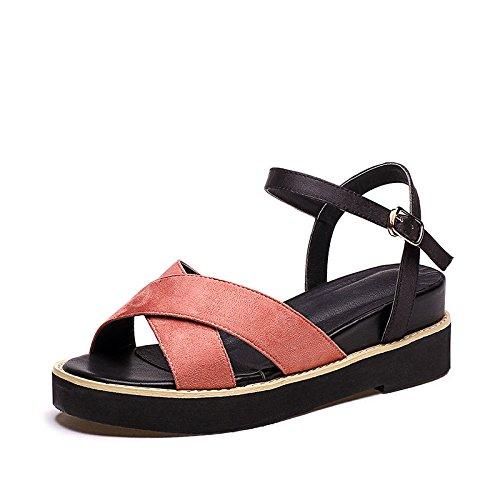 ZPPZZP Ms sandali spessa relax Coreano-style traspirante fondo piatto pendenza rosso 37EU