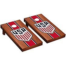 US Soccer USSF Cornhole Game Set Rosewood Stained Stripe Version