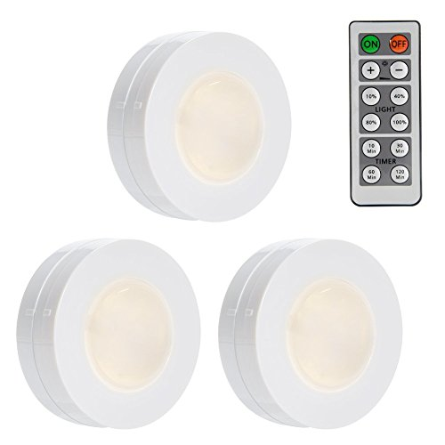 LUNSY Wireless LED Puck Lights, Closet Lights Battery Operated with Remote Controll, Kitchen Under Cabinet LED Lighting - 3 Pack
