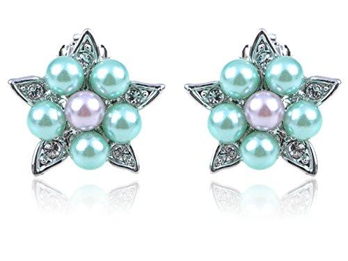 Alilang Simple Delicate Faux Pearl Flower Star Swarovski Crystal Elements Clip Earrings