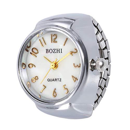 Ring Watch, Womens Mens Lovers Fashion Dial Quartz Analog Steel Elastic Finger Creative Ring Watch ODGear (X, Silver2) - Quartz New Battery