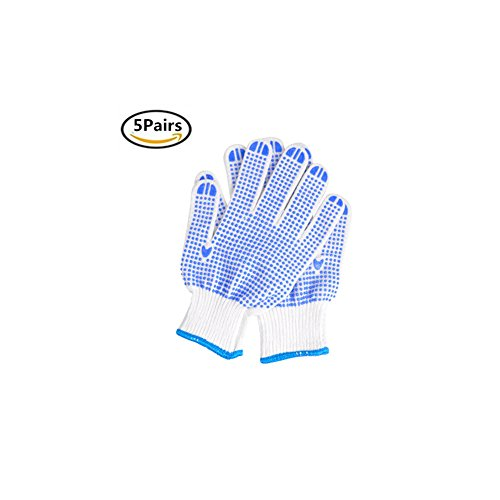 Ksmxos Utility Work Gloves , Gardening, Safety Gloves with PVC Dots for Hand Protection, Classic Knitted, - Mechanic, Construction, Industry, Garden use, Bulk, Set-5 - Pair Free Glasses Canada First