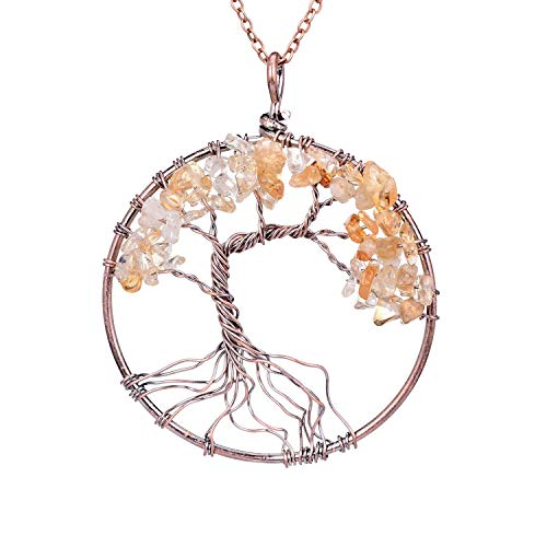 Handmade Wire Wrapped Family Root Tree of Life Crystal Pendant Necklace Jewelry Healing Semi Precious Tumbled Natural Raw Gemstone Birth Stone Citrine Quartz Pendant Gift Jewelry for Women