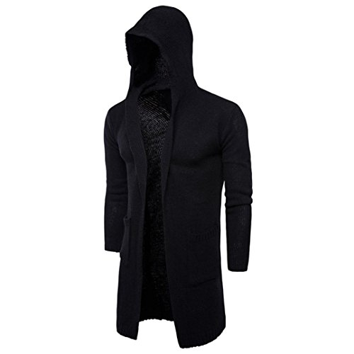 Knit Hooded Sweater (Nevera Fashion Mens Knitting Long Cardigan, Slim Fit Hooded Knit Sweater Trench Coat Jacket (L, Black))