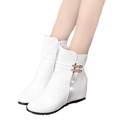 Retro ANDAY Increased Winter Short Boots White Women's Wedges Crystal wCxr6w