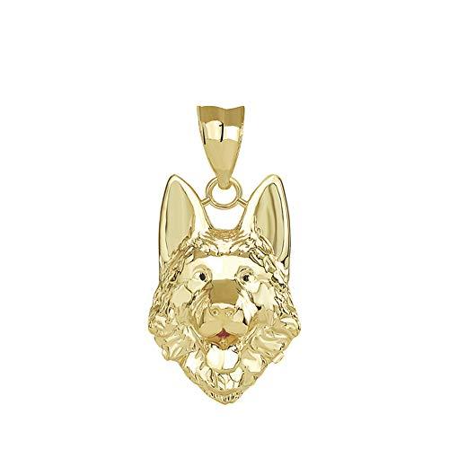 14k Yellow Gold German Shepherd Dog Head Charm Pendant