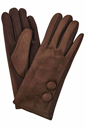 Brown Faux Suede Classic Two Button Lined Womens Gloves (Gloves Vintage Suede)