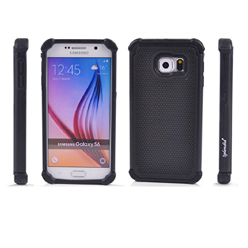 Splendid(TM) Galaxy S6 Case, Galaxy S6 Armor Case [Drop Protection] [Shock-Absorption] [Impact Resistant] Black Hybrid Triple Layer Stylish Design Ultra Slim Ballistic Tough Armor Defender Protective Case Cover for Samsung Galaxy S6 (Triple Black S6)