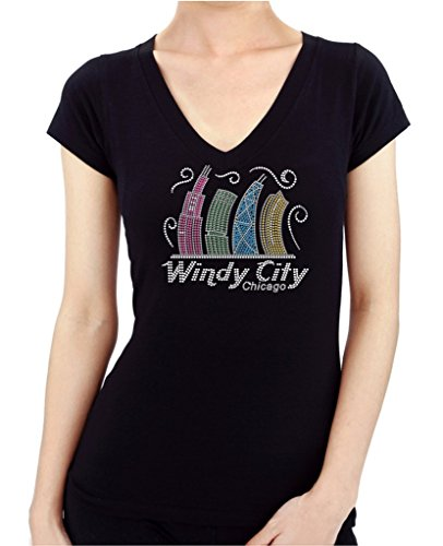 WINDY CITY CHICAGO Hand Made Rhinestone Stud Women's - Place Tower Water Chicago