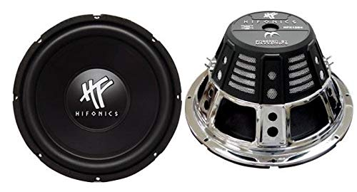 Hifonics HFX12D4 12-Inch 1600 Watt HF Series Dual 4 Ohm Car Subwoofers, Pair of 2 (12 Subwoofer Competition With Box)