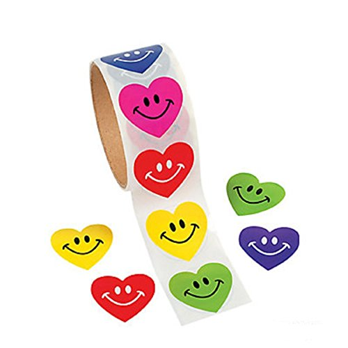 100 SMILEY Face HEART STICKERS/COLORFUL Smile/HAPPY/VALENTINE'S Day PARTY Decor/Rewards/TEACHERS/LOVE ()