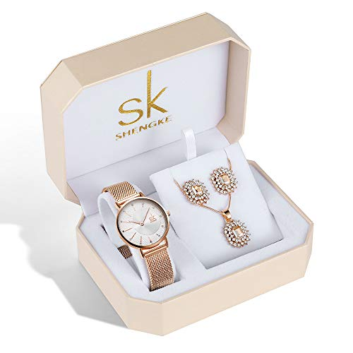 SK Necklace Watches Earring Rose Gold and Gold Jewelry Set Fashion Gifts for Women Accessories on Sale (K0093-WE-RG-SET) from sk SHENGKE