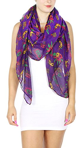 Print Shawl Scarf Lightweight, Women, Girl, Mardi gras mask Purple, by SERENITA