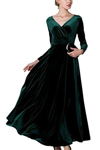 Le Taglia Maniche Swing Green Sevozimda A Lunghe Vestito Di Eleganti Maxi Velluto Donne O8qfPd