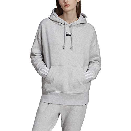 adidas Originals Women's Hoodie Trefoil Hooded Sweatshirt Sports Pullover (Light Grey Heather, Large (L))