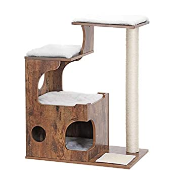 Image of FEANDREA 34.6 inches Cat Tree, Medium Cat Tower with 3 Beds and House, Cat Condo, Sisal Post and Washable Faux Fur, Vintage, Rustic Brown and White UPCT70HW Pet Supplies