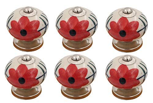 THDC Painted Ceramic Knob, Cabinet Knob, Drawer Knob, Dresser Knob, Handmade, Hand Painted, Vintage Knob (Set Of 6) (Red Flower)
