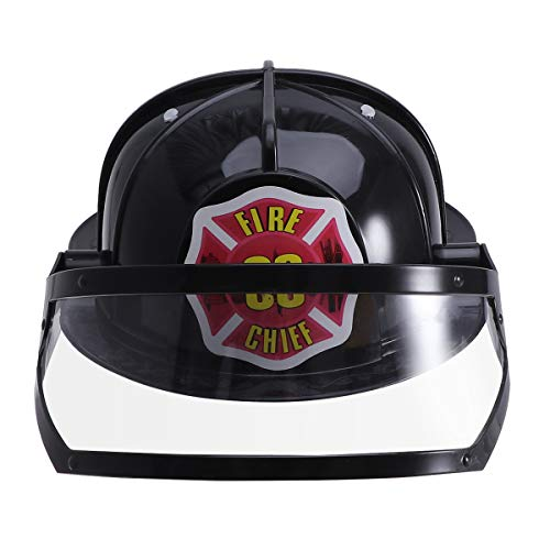 Amosfun Safety Helmet Adjustable Fire Hat Toy Educational Toy Cosplay Party Construction Funny Gadgets for Kids Children (Black) -