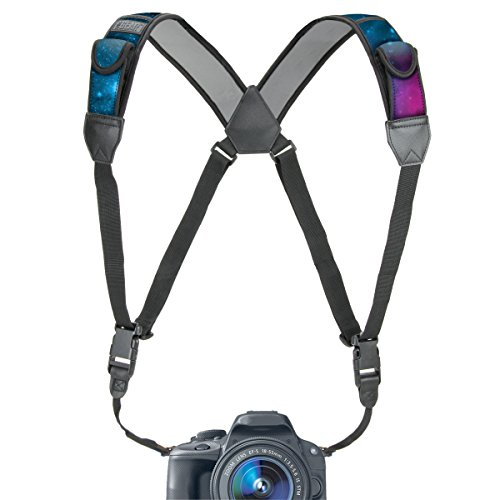 Camera Strap Chest Harness with Galaxy Neoprene and Accessory Pockets by USA GEAR – Works with Canon, Nikon, Fujifilm, Sony, Panasonic and Binoculars, DSLR, Point & Shoot, Mirrorless Cameras