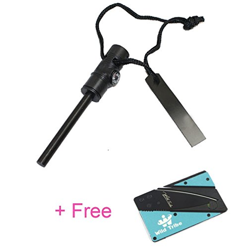 3 in 1 Emergency Quick Fire Starter Waterproof - Multi-functional Survival Spark Magnesium Survival Fire Starter with Compass and Whistle - Free a Card Knife