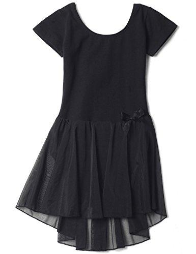 [Dance Leotard with Skirt for Girls (Tag14) Age 8-10, Black] (Black Ballet Dance Costumes)