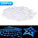 200 PACK Glow Stepping Stones,Glow In the Dark Pebbles for Outdoor Garden Decor Aquarium Fish Tank Garden Decorative LuminousRocks for Path Lawn Yard Walkway-White