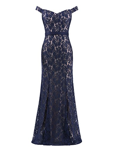 Ever-Pretty Elegant High Stertch Lace Long Evening Dress For Women 16 US Navy Blue