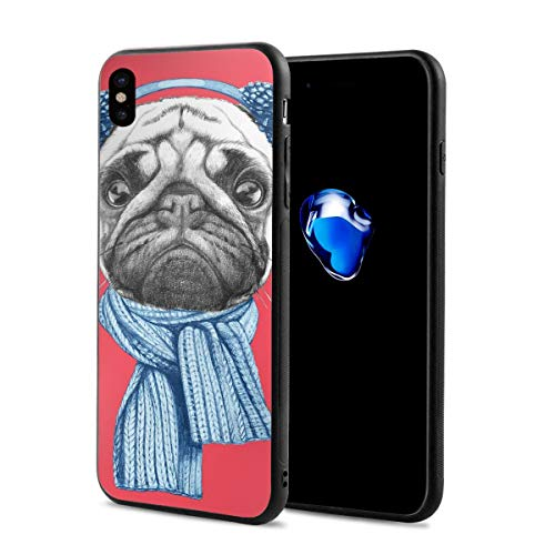 Compatible with iPhone X Case,Detailed Dog Drawing with Scarf Earmuffs On Dark Coral Background Animal Fun,Soft Rubber Phone Case Cover