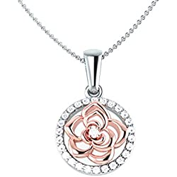 0.16 Carat (ctw) 14K White & Rose Gold Round Cut White Diamond Ladies Flower Shaped Pendant