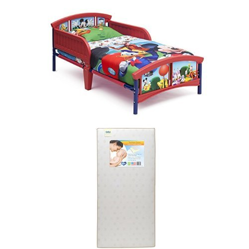 Delta Children Plastic Toddler Bed, Disney Mickey Mouse with Twinkle Stars Crib Toddler Mattress