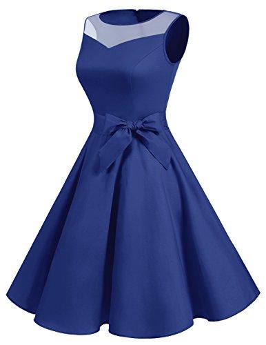 Version Rtro Soire 0 1950's Bleu sans Rond Robe Saphir Vintage 50 Annes col Dresstells Cocktail 12 de Manches dqnzSU