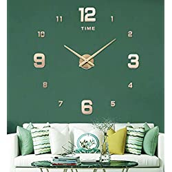 SIEMOO 3D Frameless DIY Wall Clock, Large Wall Clock Kit 3D Mirror Number Stickers Mute Clock Modern Design for Home Living Room Bedroom Office Decoration-Gold