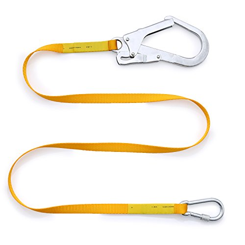 Safety Lanyard,Outdoor Climbing Harness Belt Lanyard Fall Protection Rope With Large Snap Hooks, Carabineer by Wildken