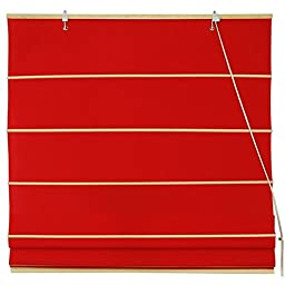 Oriental Furniture Cotton Roman Shades - Red - (72 in. x 72 in.)(B)